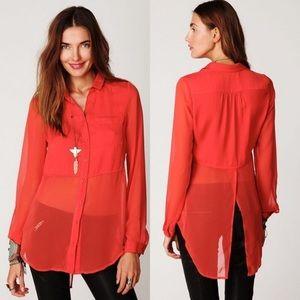 Free People Orange Long Sleeve Blouse